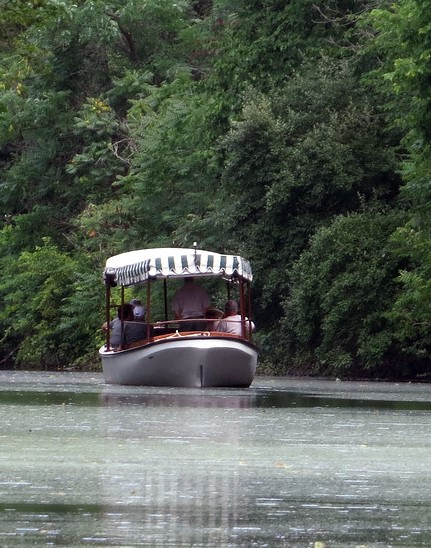 Launch boat on canal