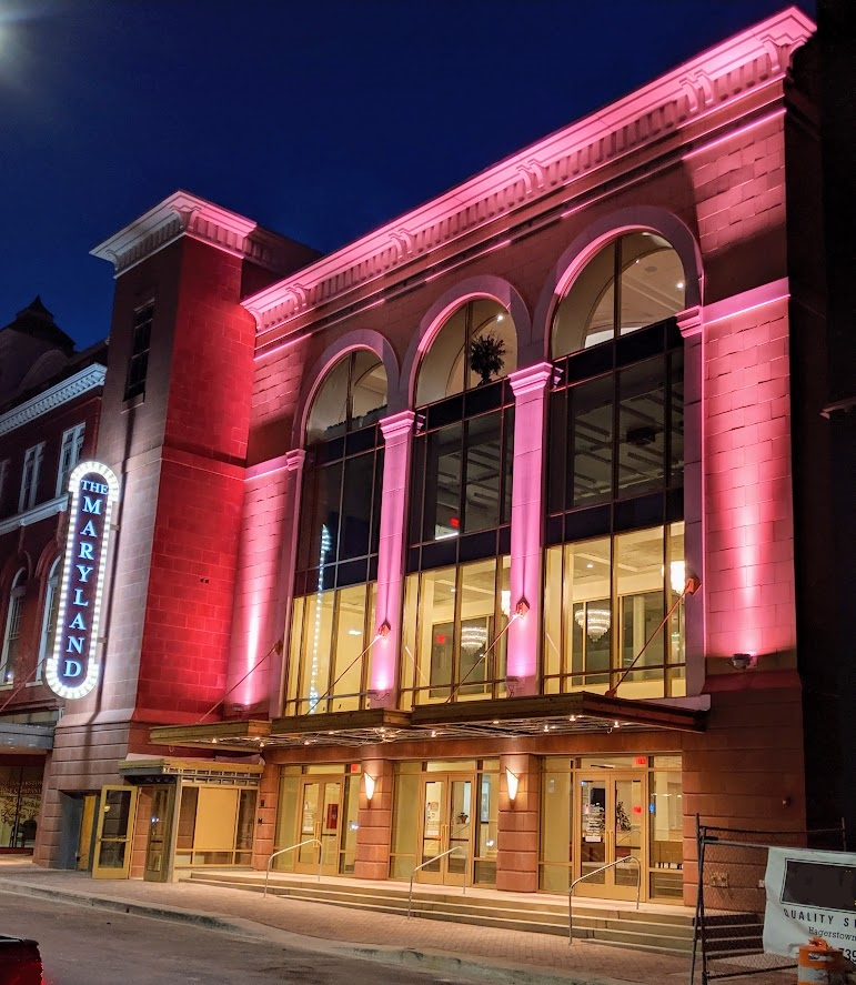 Nighttime view of Maryland Theatre