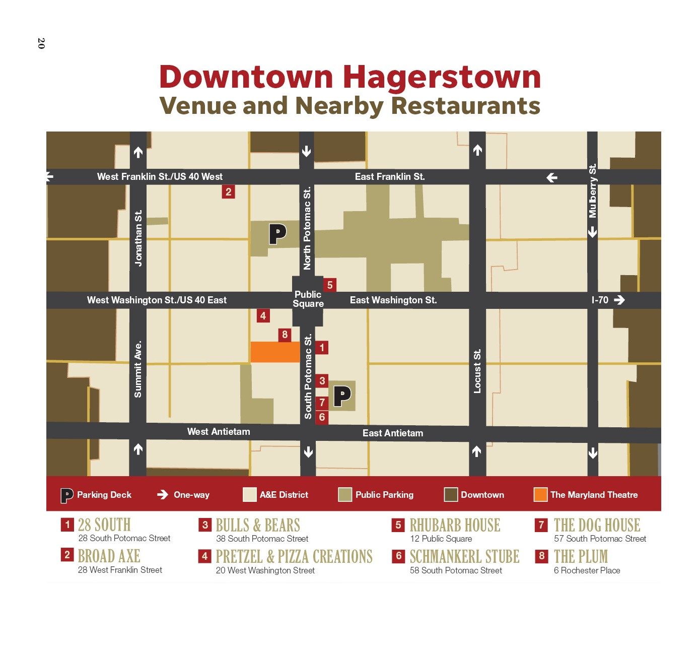 Hagerstown map, parking and restaurants